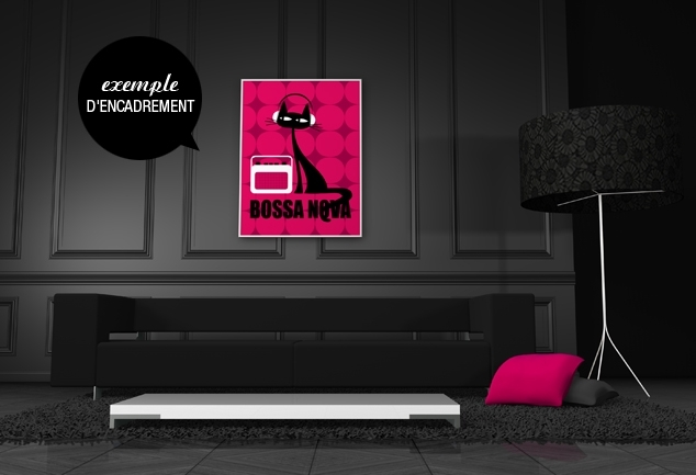 Poster rose moderne chat Bossa Nova Cat