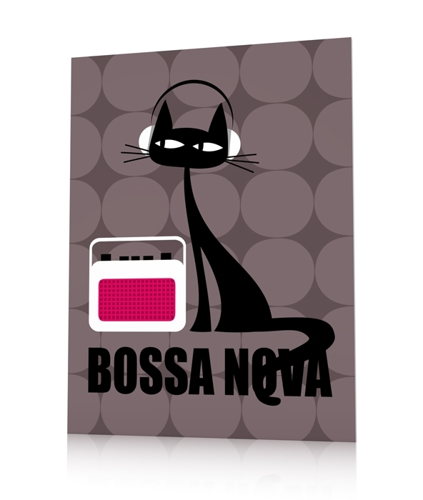 Cat poster contemporary poster bossa nova cat qorashai for Qorashai