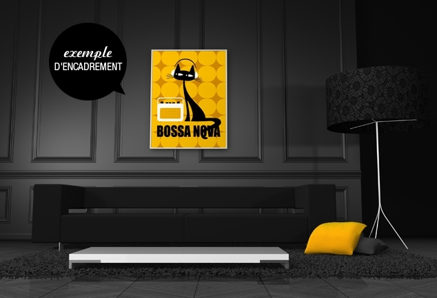 Poster jaune chat Bossa Nova Cat