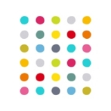 Tableau design abstrait ronds pois points coloré