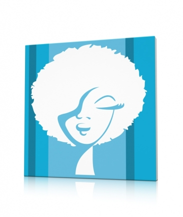Tableau pop art bleu World Woman