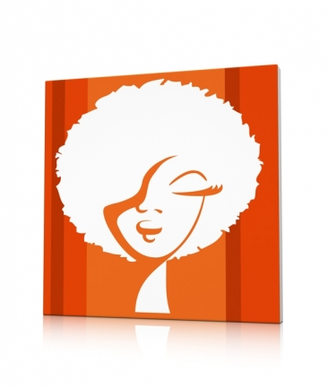 Tableau pop art orange World Woman