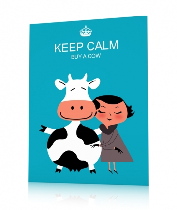 Poster keep calm bleu Buy a Cow