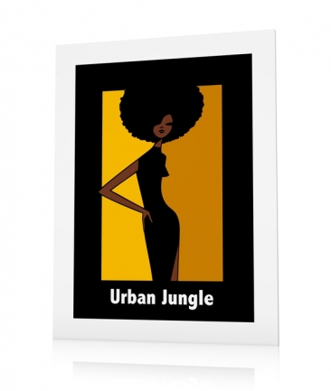 Poster femme afro jaune Jungle
