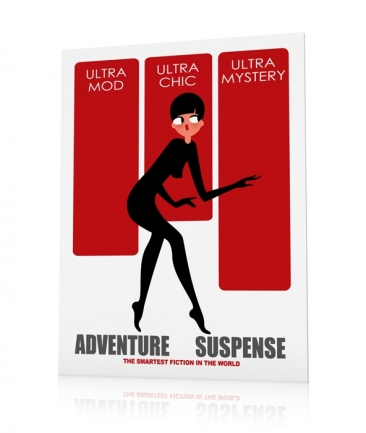 Art deco poster vintage red Mystery