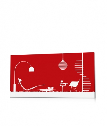 Tableau contemporain moderne rouge Arabesque