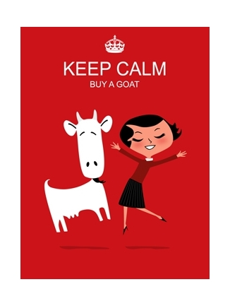 Goat art red Keep Calm