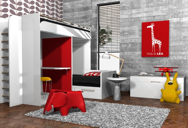 Tableau girafe chambre enfant rouge This is Lea