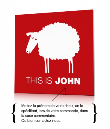 Tableau mouton design rouge This is John
