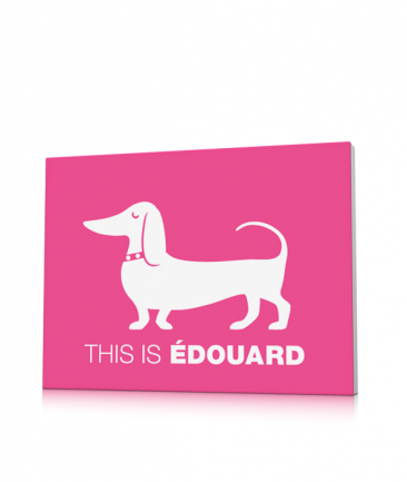 Tableau chien saucisse rose This is Edouard