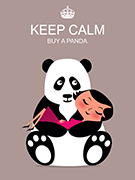 Tableau Panda Keep Calm gris