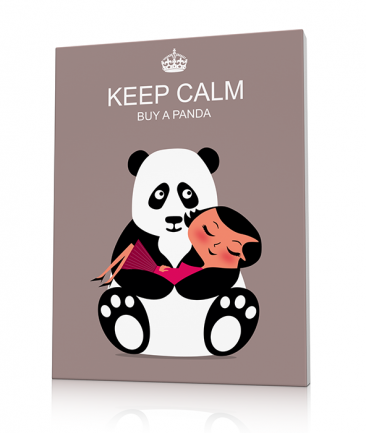 Tableau pandas taupe Keep Calm