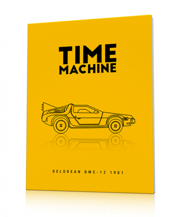 Tableau Delorean Time machine jaune