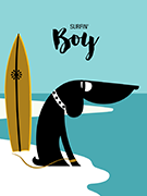 Dog art print Surfin Dog