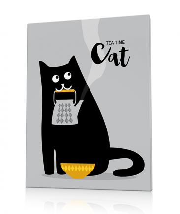 Cat art prints grey Tea for Two