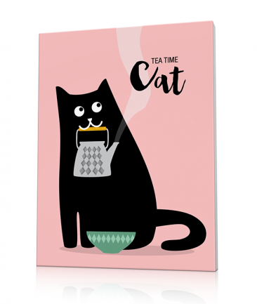 Cat art prints pink Tea for Two