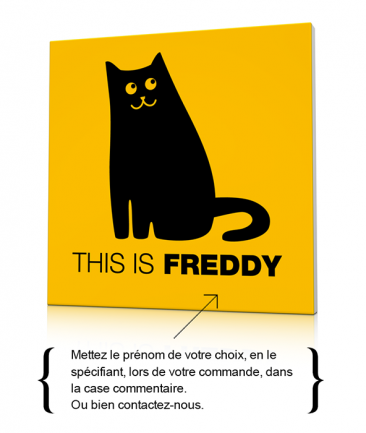 Tableau chat noir moderne enfant This is Freddy