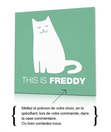 Toile chat couleur pastel chambre enfant This is Freddy