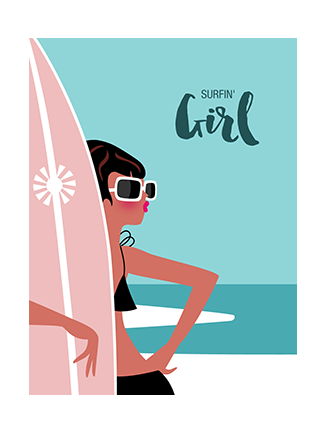Vintage surf art prints Girl