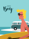 Vintage surf art prints Man surfin boy