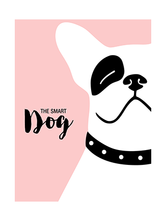 Bulldog art print pink Smarty