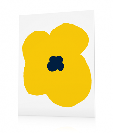 Modern flower poster yellow