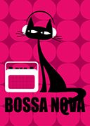 Cat postcard Pink Bossa