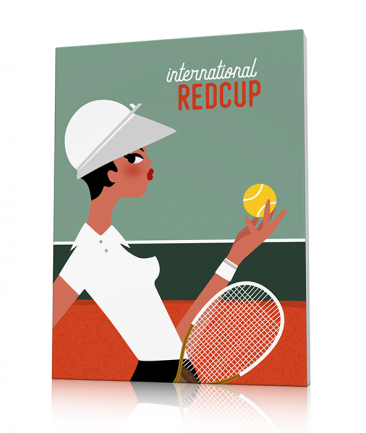 Retro tennis art woman