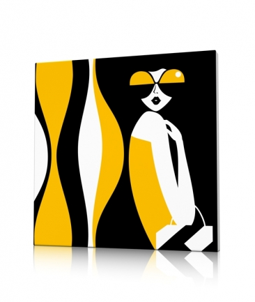 Tableau design vintage seventies jaune