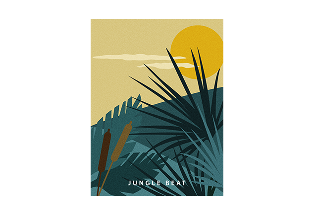 Tropical jungle poster Blue