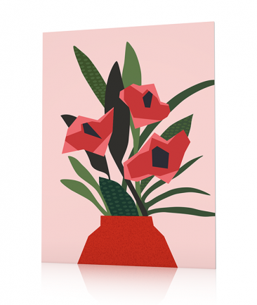 Contemporary Flowers poster Pink