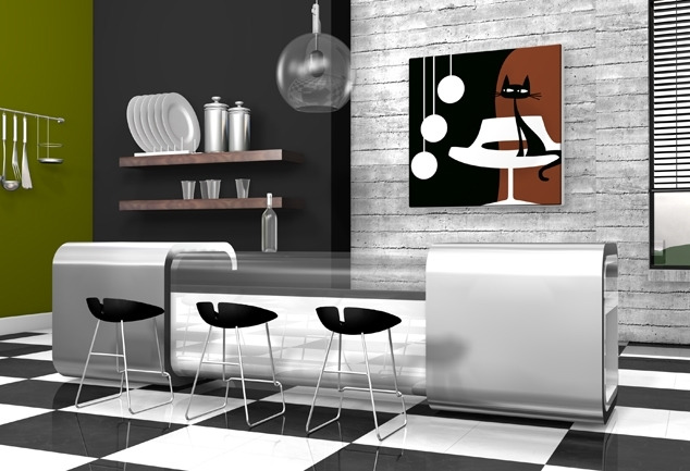 Tableau moderne pour salon Something For Cat