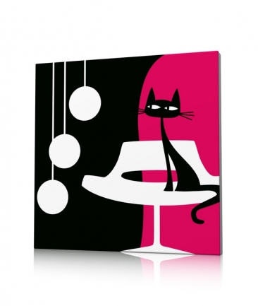 Tableau rose moderne Something For Cat