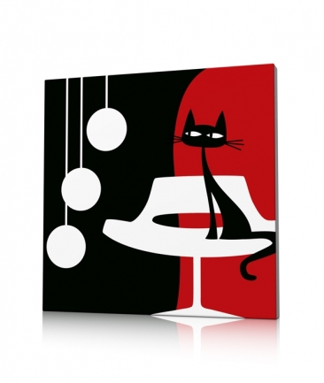 Tableau rouge moderne salon Something For Cat