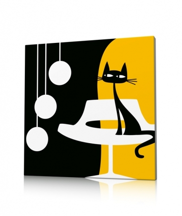 Tableau jaune chat moderne Something For Cat